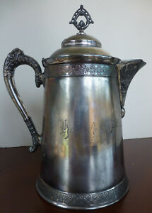 Antique Quadruple Plated Silver Pitcher From Pairpoint Mfg