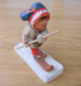 Henning Norway Hand Carved Wood Lap Boy Girl Figurine Skiing