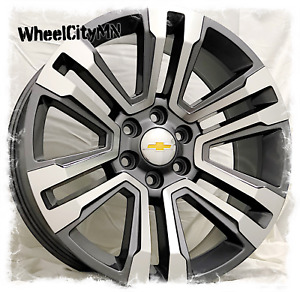 22 Inch Gunmetal Machine 2018 2017 Chevy Tahoe Ltz Oe Replica Wheels 6x5 5 31