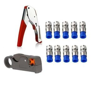 Coax Cable Crimper Kit Tool For Rg6 Rg59 Coaxial Compression Fitting Wire