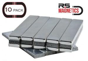 Neodymium N52 Bar Magnets 10 Pack Incredibly Powerful Adhesive Strength