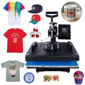 New 5in1 Heat Press Transfer Sublimation Machine T shirt Cup Hat dual Lcd Timer