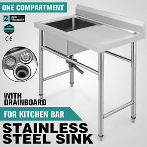 39 5 x24 Stainless Handmade Sink Right Drain Board 10 Deep Hotel 37 Height