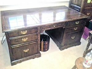 Chaddock Executive Desk Large 76 w X 38d X31h Walnut 7 Drawers antique Brass