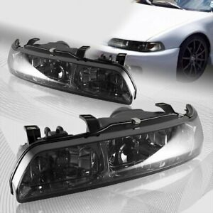 For 90 93 Acura Integra Ls Rs Gs Smoke Lens 1 piece Headlights W amber Reflector