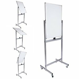 Mobile Dry Erase Magnetic Whiteboard 24w X 36 h Double Sided With Easy Flip