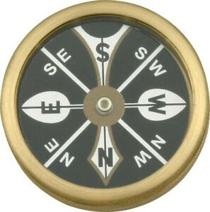 Marbles MR223 Brass Body 1 3 4quot; Large Pocket Compass w Revolving Black Dial $14.67