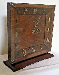 Smiths Vintage 8 Day Slim Wooden Cased Mantel Clock With Roman Numerals Working