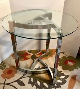 Mid Century Modern Beveled Glass Chrome Lamp Table Milo Baughman Style 24 D
