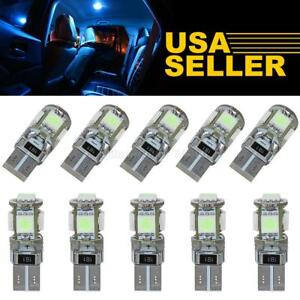 10x Ice Blue Canbus T10 W5w 5050 5 Smd Car Auto Led Light Bulb Lamp 194 192 158