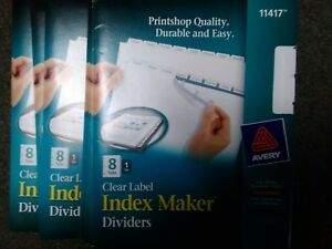 Lot Of 12 Avery Index Maker Clear Label Divider With Tabs Blank 8 ave11417
