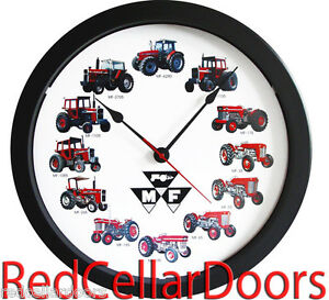 New Massey Ferguson 14 Tractor Clock 12 Tractors Massive Wheel Dial Black Logo