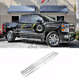For 2014 2018 Chevy Silverado 1500 Crew Cab Stainless Steel Window Sills