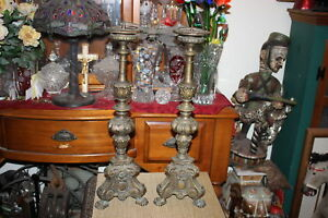 Antique Victorian Cast Bronze Candle Holders Large Pair Footed Designs