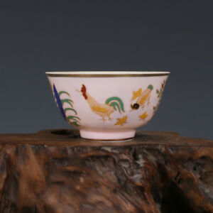 China Antique Porcelain Ming Chenghua Yellow Gilt Painting Chicken Flower Cup