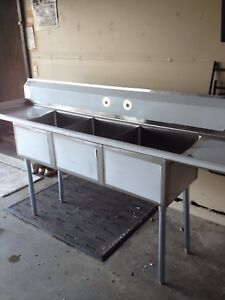 Nsf Certified Restaurant Equipment 90 Stainless Steel 3 Compartment Sink