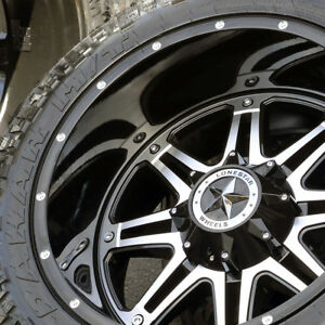 22 Black Lonestar Outlaw Wheels 35 Tires 22x12 6x139 7 6x135 Ford Chevy Toyota
