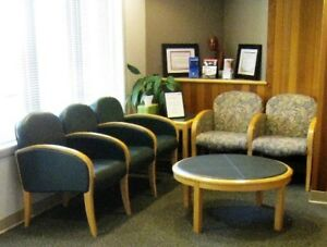 Set Of Office Reception Area Furniture Upholstered Chairs And Table