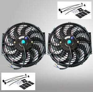 2 14 Inch Black Universal Electric Radiator Slim Fan Push Pull 12v Mounting Kit