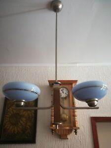 Art Deco Ceiling Lamp Two Arm Chandelier Blue Opaline Glass 1930s