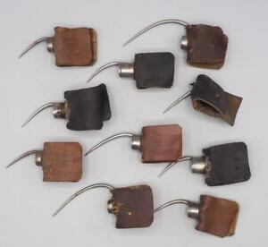 Antique Lot Of 10 Needle Sharp Finger Claw Talon W Leather