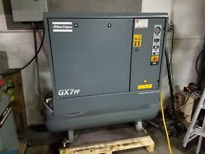 Atlas Copco Gx7ff Rotary Compressor With Tank And Dryer 10hp