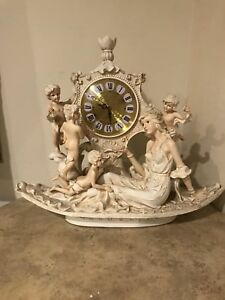 Antique Victorian Woman With Children Clock Statue Figurine