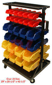Mobile 60 Removable Bins Bin Rack Parts Accessories Storage Organizer W Wheels
