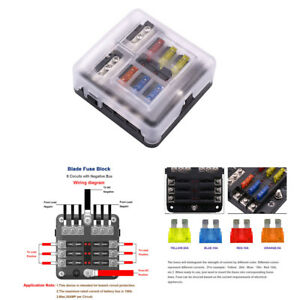 6 Circuit Blade Fuse Block 12 Fuse For 12v 24v Car Marine Dc Electrical System