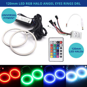 2 Rgb Led Angel Eyes Halo Drl Ring Kit W remote 120mm