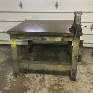 4 x4 Steel Welding Layout Table With Columbian Vise 36 h X2 Thick Solid Top