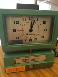 Vintage Acroprint Time Recorder 125ar3 Heavy Duty Working Time Clock
