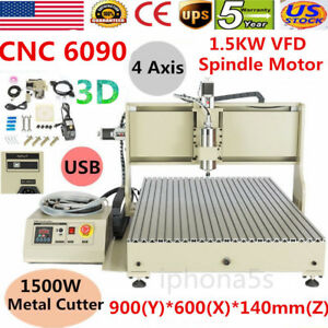 Usb Cnc Router 6090 4 Axis 1 5kw Vfd Spindle Metal Cutter Engraver Engravering