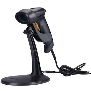 Handheld Wired Laser Barcode Scanner Reader Automatic Usb Adjustable Stand Black