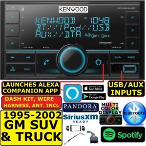 Kenwood Fits 95 02 Gm Truck suv Usb Bluetooth Double Din Car Stereo Pkg Opt Xm