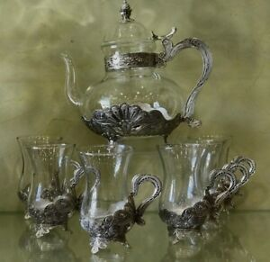 Persian Turkish Arabic Middle Eastern Style Tea Coffee Pot Cup Set Of 6 Silver