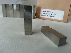 Alnico V Square Bar Cast An Ground 3 8 sq X 1 5 Long Magnetized Length 10 Each