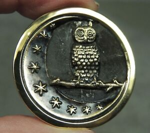 Brass Picture Button Owl Crescent Moon Stars Metal