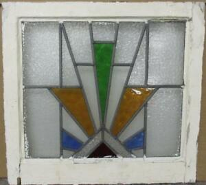 Old English Leaded Stained Glass Window Colorful Geometric Burst 20 25 X 19