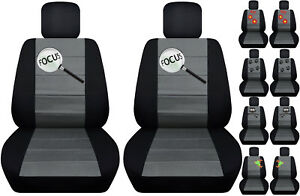 Fits Ford Focus Front Car Seat Cover Black charcoal W frog cat owl dragonfly