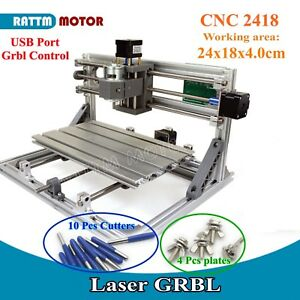 usa 3 Axis Usb 2418 Grbl Mini Diy Cnc Router Milling Pvc Cutter Laser Machine