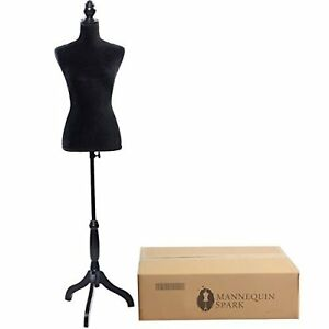 Female Mannequin Torso Dress Form Display Stand Tripod Clothing Base Black Full