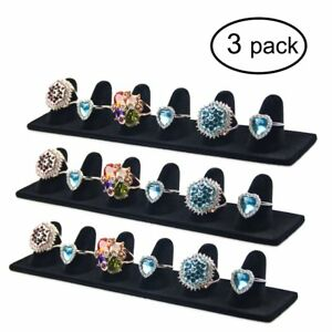 Ginasy 3 Pack Black Velvet Finger Ring Display Stands 8 27 lx1 57 w Jewelry H