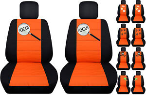 Fits Ford Focus Front Car Seat Cover Black orange W frog owl dragonfly more