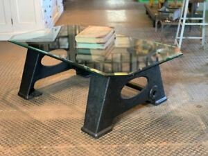 Industrial Machine Coffee Table Antique Cast Iron Legs Glass Top