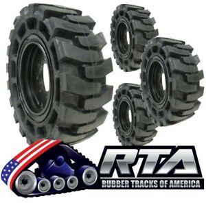 Set Of 4 Solid Skid Steer Tires Fits Case 8 Lug Flat Proof 12x16 5 Free Shipping