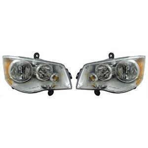 Chrysler Town Country 08 10 Right Left Pair Set Headlights Headlamps Halogen