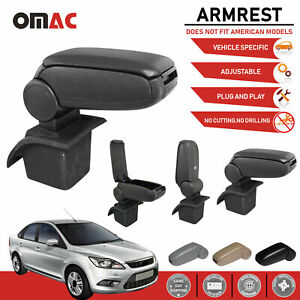 Black Leather Armrest Centre Console Storage Box For Ford Focus Ii 2005 2011