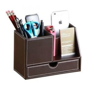 Pu Leather Multi function Desk Pen Pencil Holder Office Stationery Organizer