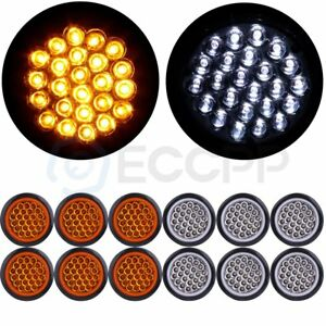 12x Amber White 4 Round 24led Trailer Side Marker Clearance Light Tail Lamp